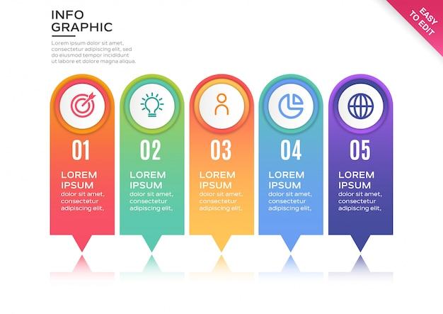 Modèle d'infographie étape colorée