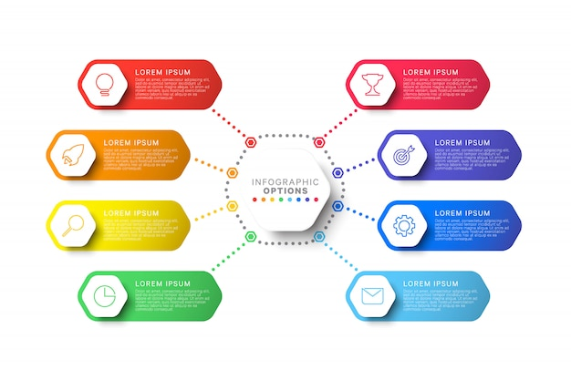 Modèle d'infographie étapes avec éléments hexagonaux