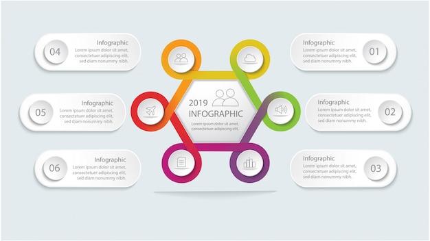 Modèle d'infographie avec étapes ou option pour la mise en page du flux de travail, diagramme, options de nombre, options d'intensification