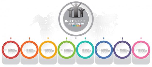 Modèle d'infographie avec les étapes et le processus pour votre conception.