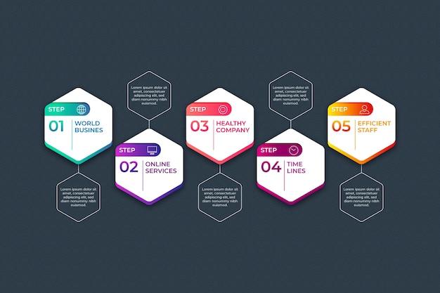 Modèle d'infographie avec étapes