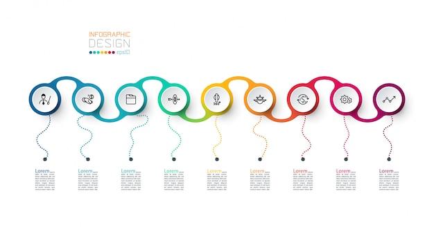 Modèle d'infographie d'étiquette de cercle
