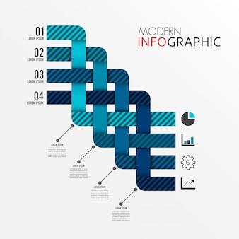 Modèle d'infographie avec étiquette en papier 3d