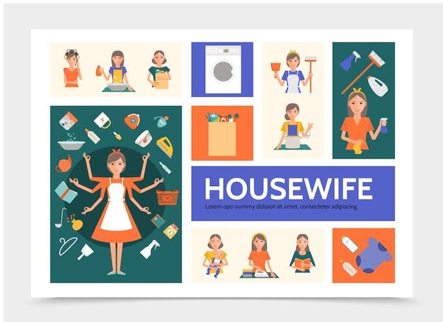 Modèle d'infographie femme au foyer plat