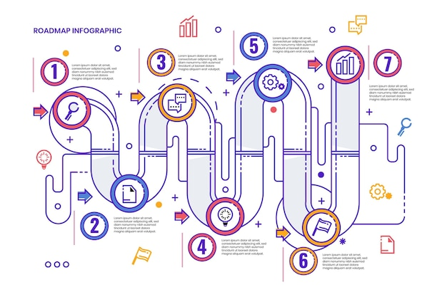 Modèle d'infographie de feuille de route plate linéaire