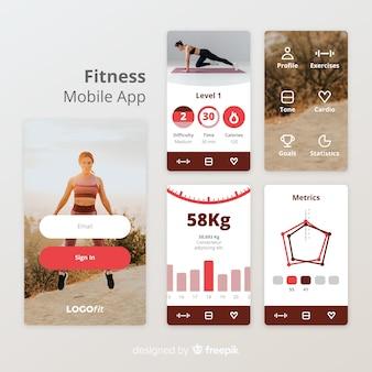 Modèle d'infographie de fitness app mobile