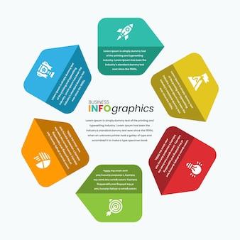 Modèle d'infographie de flèche de style hexagonal coloré