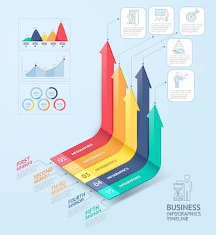 Modèle d'infographie de flèches commerciales