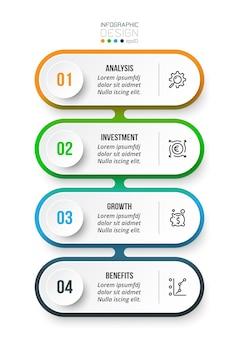 Modèle d'infographie de flux de travail en 4 étapes