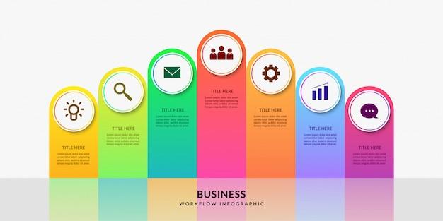 Modèle d'infographie de flux de travail moderne, graphique de processus métier avec option multiple