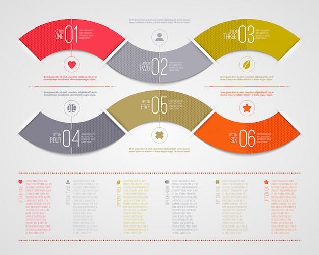 Modèle d'infographie - forme de vagues de papier couleur numérotée abstraite