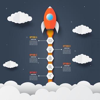 Modèle d'infographie de fusée à travers les nuages. démarrage réussi.