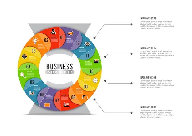 Modèle d'infographie graphique cercle avec 12 options pour les présentations.