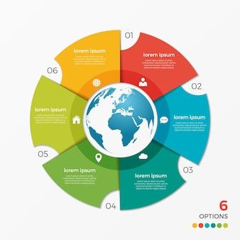 Modèle d'infographie de graphique circulaire avec options de globe 6 pour les présentations, la publicité, les mises en page, les rapports annuels, la conception de sites web.