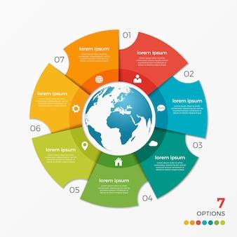 Modèle d'infographie de graphique circulaire avec options de globe 7 pour les présentations, la publicité, les mises en page, les rapports annuels, la conception de sites web.