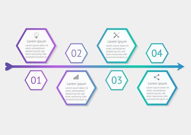 Modèle d'infographie hexagonale avec vecteur de conception d'étape