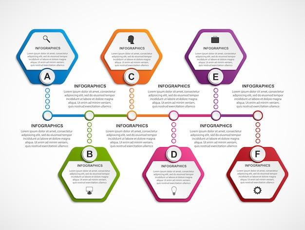 Modèle d'infographie hexagonale.