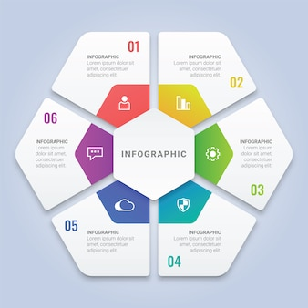 Modèle d'infographie hexagone 3d avec six options pour la disposition du flux de travail, diagramme, rapport annuel, conception web