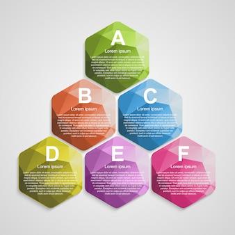 Modèle d'infographie hexagone abstrait.