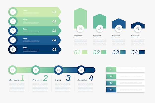 Modèle d'infographie hiérarchique dégradé