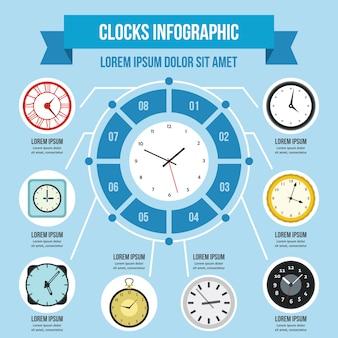 Modèle d'infographie horloges, style plat
