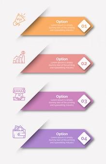 Modèle d'infographie avec icône et numéro