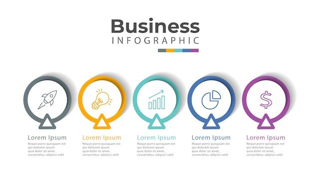 Modèle d'infographie avec icônes et 5 options ou étapes.