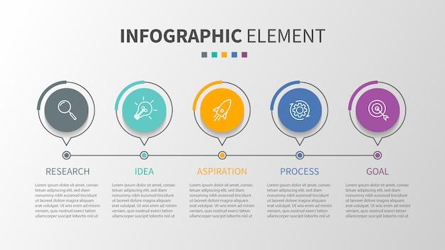 Modèle d'infographie avec des icônes et 5 options ou étapes