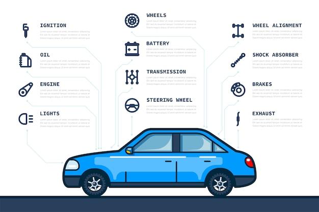 Modèle d'infographie avec des icônes de pièces de voiture et de voiture