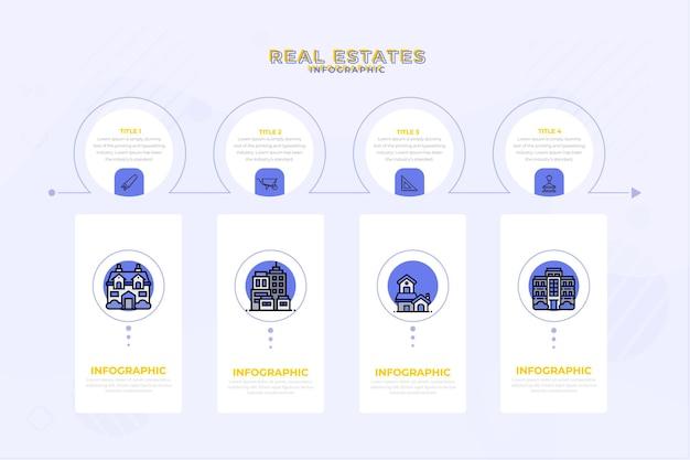 Modèle d'infographie immobilier plat linéaire