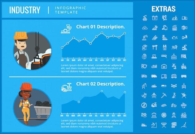 Modèle d'infographie de l'industrie, des éléments et des icônes.