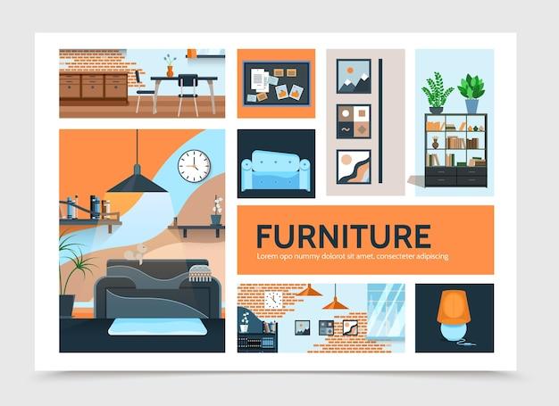 Modèle d'infographie intérieur plat maison