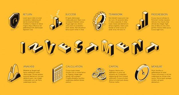 Modèle d'infographie isométrique d'investissement