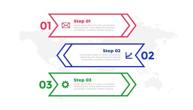 Modèle d'infographie de ligne directionnelle en trois étapes