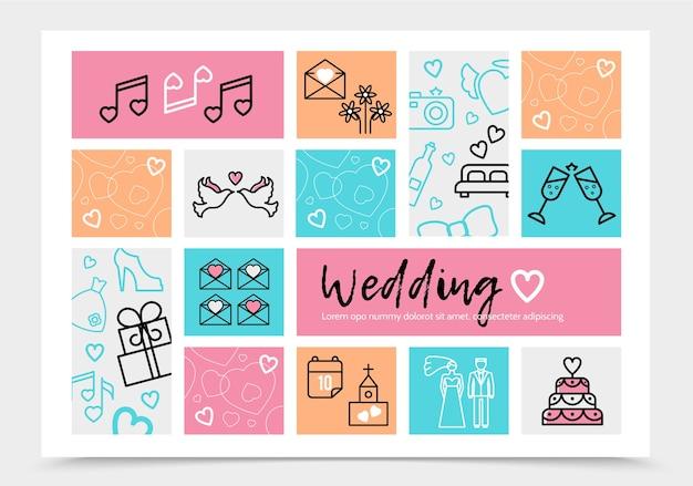 Modèle d'infographie de mariage