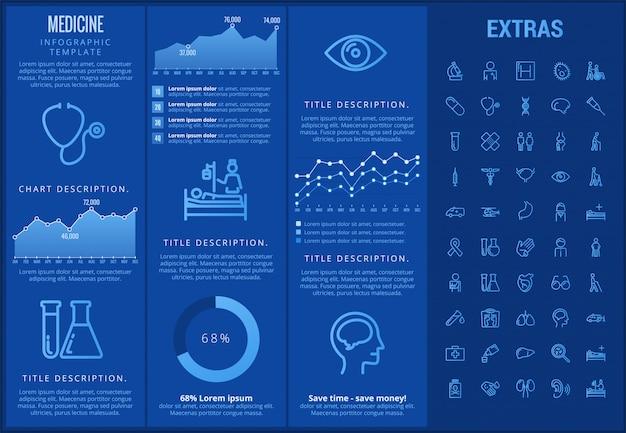 Modèle d'infographie de médecine, des éléments et des icônes