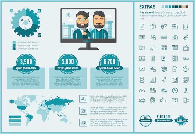 Modèle d'infographie média design plat et ensemble d'icônes