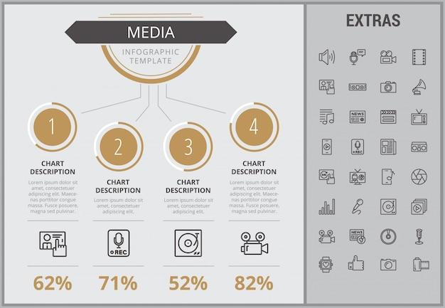 Modèle d'infographie de média, des éléments et des icônes