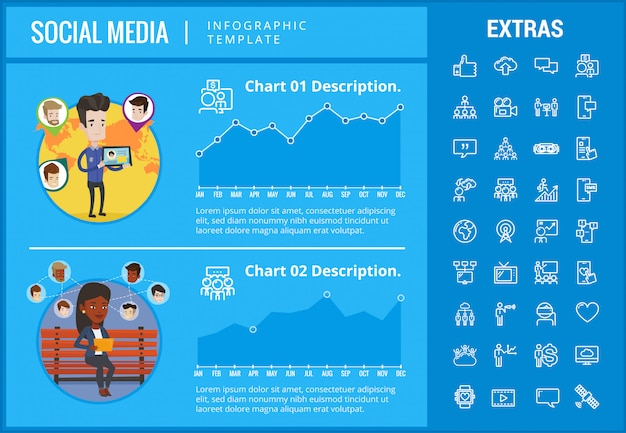 Modèle d'infographie de médias sociaux, éléments, icônes