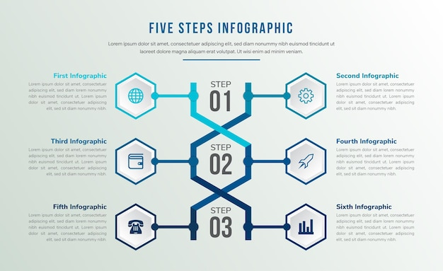 Le modèle d'infographie médicale abstraite d'adn avec six icônes utilise l'hexagone comme cadre et trois étapes du programme. palette de couleurs bleues variation.