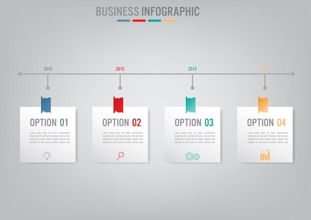 Modèle d'infographie métier avec 4 options