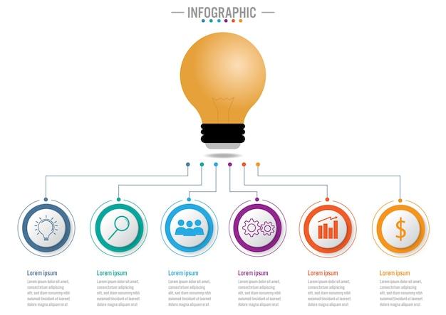 Modèle d'infographie métier avec 6 options