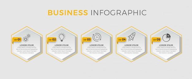 Modèle d'infographie métier. conception de ligne mince avec numéros 5 options ou étapes.