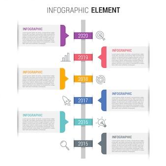 Modèle d'infographie métier avec icônes et numéros 6 options ou étapes