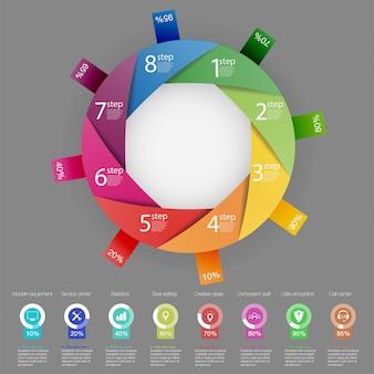 Modèle d'infographie métier de présentation avec 8 options.