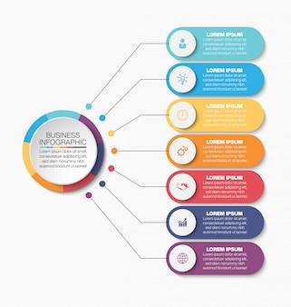 Modèle d'infographie métier de présentation avec sept options.