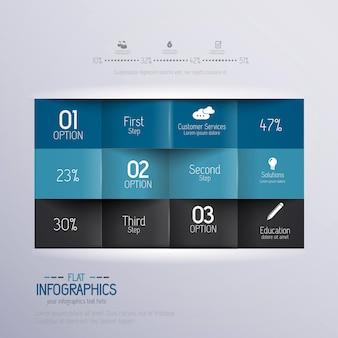 Modèle d'infographie minimal de conception moderne - peut être utilisé pour l'infographie, les bannières numérotées, les lignes de découpe horizontales, les graphiques ou le site web.
