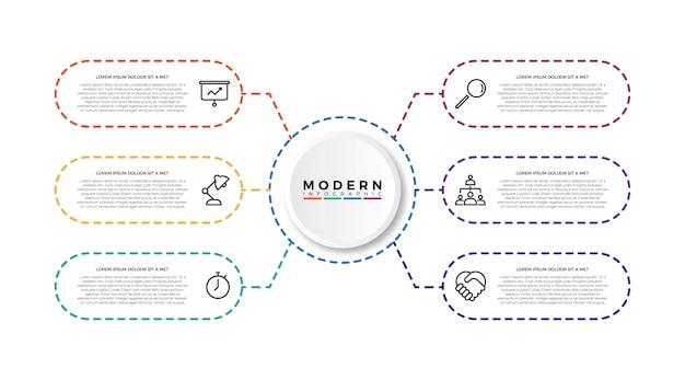 Modèle d'infographie minimalist thin line