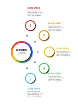 Modèle d'infographie de mise en page de conception en cinq étapes avec des éléments réalistes 3d ronds.