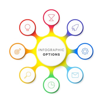 Modèle d'infographie mise en page conception simple huit options sur blanc
